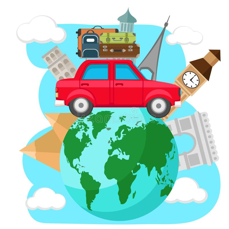 Το αυτοκίνητο με τις βαλίτσες στη στέγη ταξιδεύει γύρω από το πλανήτη Γη, σε ένα λευκό ελεύθερη απεικόνιση δικαιώματος