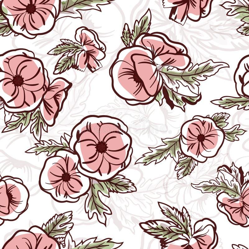 Το βοτανικό άνευ ραφής σχέδιο με τα λουλούδια δίνει επισυμένος την προσοχή με τις γραμμές περιγράμματος στο άσπρο υπόβαθρο Floral απεικόνιση αποθεμάτων