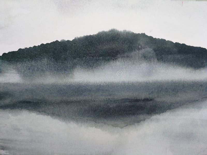 Το βουνό τοπίων μελανιού ζωγραφικής Watercolor απεικονίζει τον ποταμό στην ομίχλη διανυσματική απεικόνιση