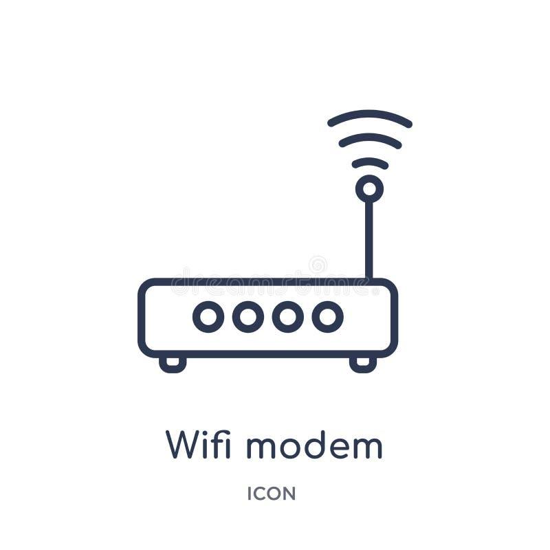 Το γραμμικό εικονίδιο διαποδιαμορφωτών wifi από την ηλεκτρονική ουσία γεμίζει τη συλλογή περιλήψεων Λεπτό διάνυσμα διαποδιαμορφωτ ελεύθερη απεικόνιση δικαιώματος