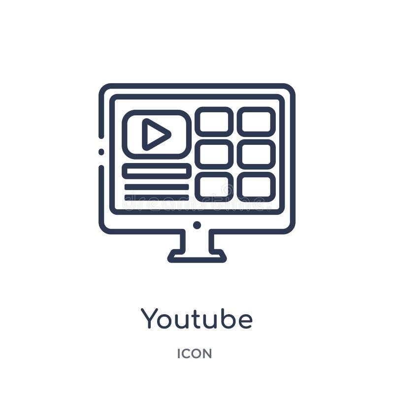 Το γραμμικό εικονίδιο youtube από Blogger και influencer περιγράφει τη συλλογή Λεπτό διάνυσμα γραμμών youtube που απομονώνεται στ ελεύθερη απεικόνιση δικαιώματος