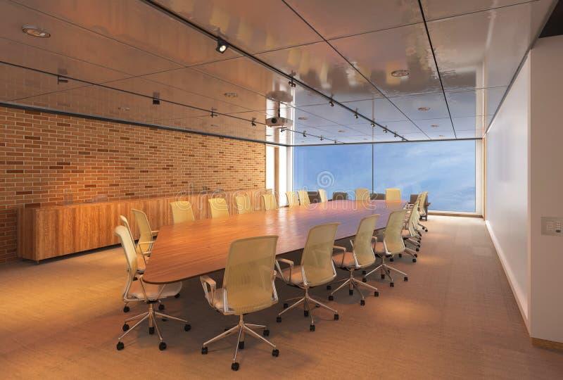 Το γραφείο Photorealistic δίνει τρισδιάστατη απεικόνιση πίνακας αιθουσών συνεδριάσεων των διασκέψεων εδρών στοκ εικόνες