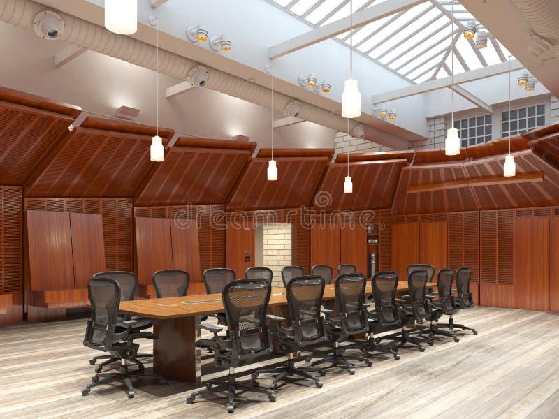 Το γραφείο Photorealistic δίνει τρισδιάστατη απεικόνιση πίνακας αιθουσών συνεδριάσεων των διασκέψεων εδρών στοκ φωτογραφίες