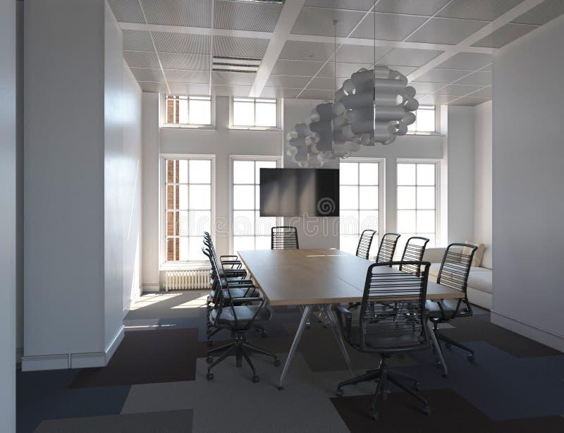 Το γραφείο Photorealistic δίνει τρισδιάστατη απεικόνιση πίνακας αιθουσών συνεδριάσεων των διασκέψεων εδρών στοκ φωτογραφίες με δικαίωμα ελεύθερης χρήσης