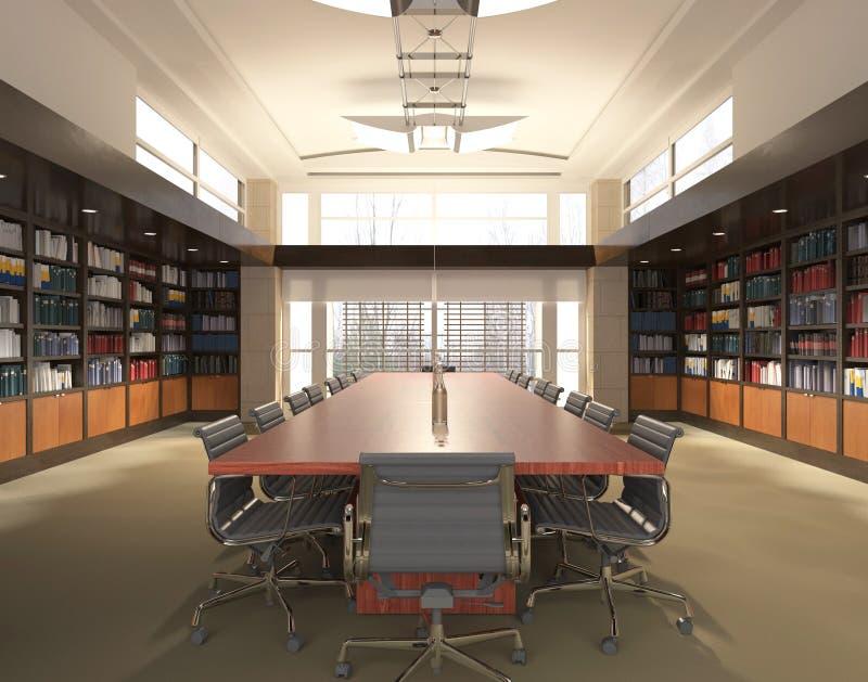 Το γραφείο Photorealistic δίνει τρισδιάστατη απεικόνιση πίνακας αιθουσών συνεδριάσεων των διασκέψεων εδρών στοκ φωτογραφία με δικαίωμα ελεύθερης χρήσης