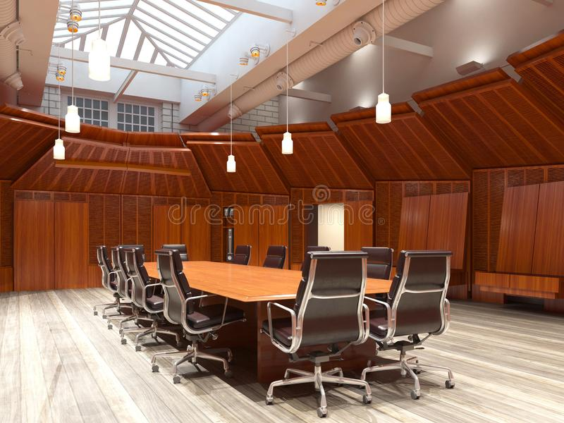 Το γραφείο Photorealistic δίνει τρισδιάστατη απεικόνιση πίνακας αιθουσών συνεδριάσεων των διασκέψεων εδρών στοκ φωτογραφία