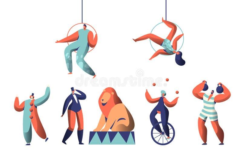 Το ευπρόσδεκτο τσίρκο παρουσιάζει με τον ακροβάτη Aerialists κλόουν και το ζωικό σύνολο Ισορροπία ζογκλέρ γυναικών σε Unicycle Βά ελεύθερη απεικόνιση δικαιώματος