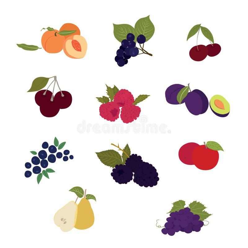 Το επίπεδο σχέδιο, έθεσε colourfully των εικονιδίων φρούτων διανυσματική απεικόνιση