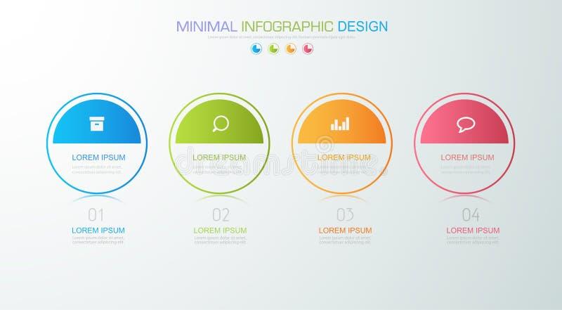 Το επιχειρησιακό infographic πρότυπο που η έννοια είναι βήμα επιλογής κύκλων με το πλήρες εικονίδιο χρώματος μπορεί να χρησιμοποι διανυσματική απεικόνιση