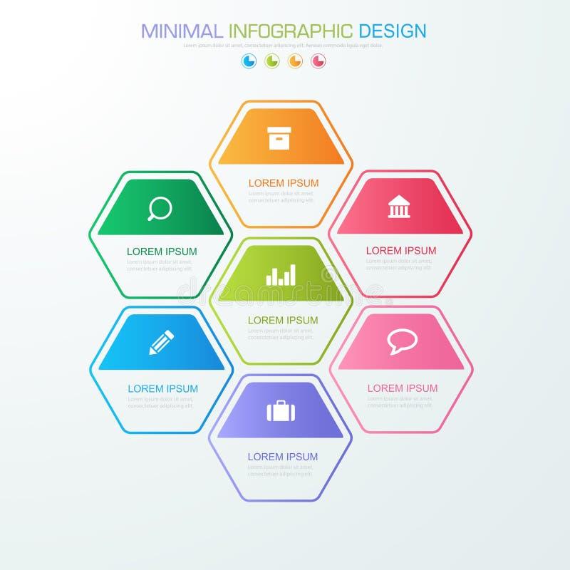Το επιχειρησιακό infographic πρότυπο που η έννοια είναι βήμα επιλογής κύκλων με το πλήρες εικονίδιο χρώματος μπορεί να χρησιμοποι απεικόνιση αποθεμάτων