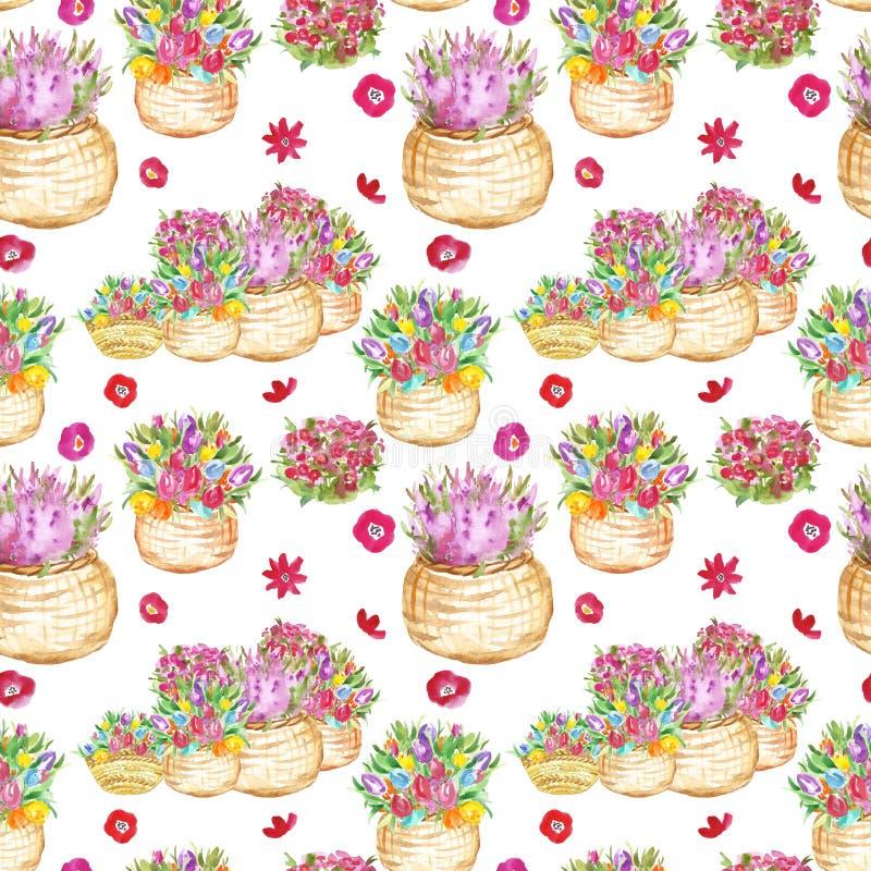 Το ζωηρόχρωμο floral άνευ ραφής σχέδιο watercolor με τις τουλίπες άνοιξης και καλοκαιριού ανθίζει στα καλάθια ελεύθερη απεικόνιση δικαιώματος