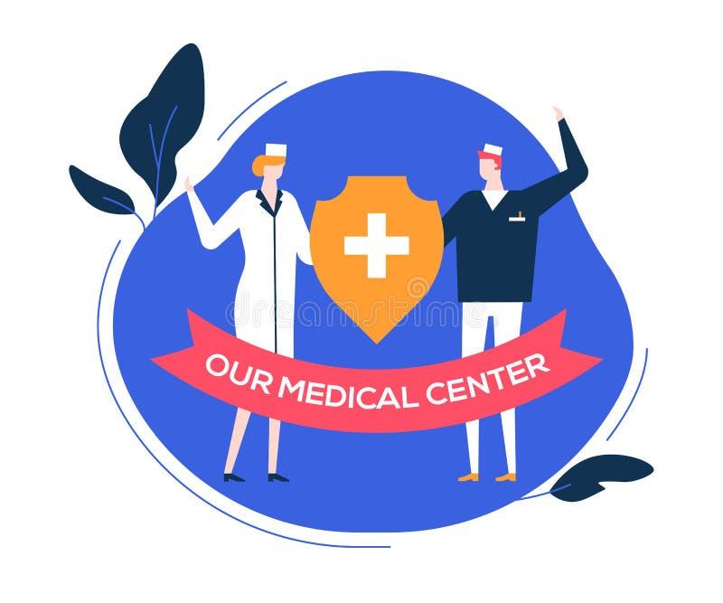Το ιατρικό κέντρο μας - ζωηρόχρωμη επίπεδη απεικόνιση ύφους σχεδίου απεικόνιση αποθεμάτων