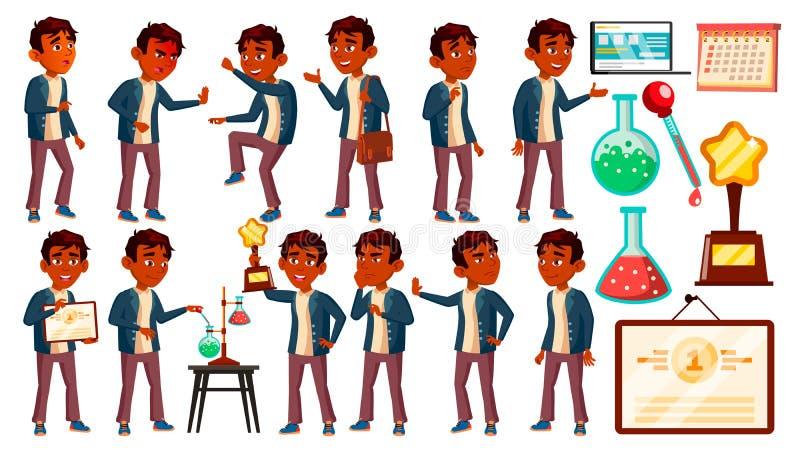 Το ινδικό παιδί μαθητών αγοριών θέτει το καθορισμένο διάνυσμα Παιδί γυμνασίου Τα παιδιά μελετούν Ανακάλυψη, εμπειρία, επιστήμη Γν διανυσματική απεικόνιση