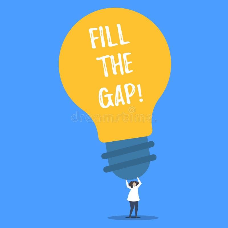 Το κείμενο γραψίματος λέξης γεμίζει τη Gap Επιχειρησιακή έννοια για που τίθεται τον ελλείπον μέρος στη σωστή λύση θέσεών του στο  απεικόνιση αποθεμάτων