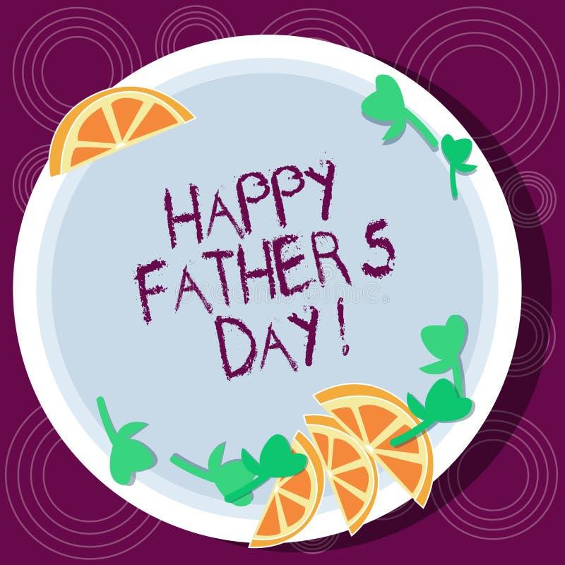 Το κείμενο γραψίματος λέξης ευτυχής πατέρας s είναι ημέρα Επιχειρησιακή έννοια για τον εορτασμό που τιμούν dads και τις διακοπές  ελεύθερη απεικόνιση δικαιώματος
