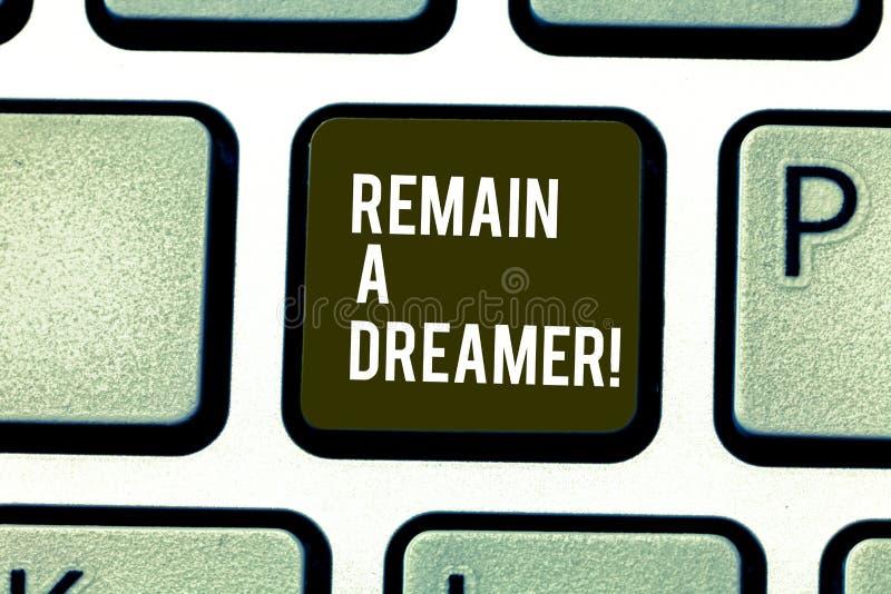 Το κείμενο γραψίματος λέξης παραμένει ονειροπόλος Επιχειρησιακή έννοια γιατί ξοδεύουν το μέρος του χρόνου σκεπτόμενος για και των στοκ εικόνα