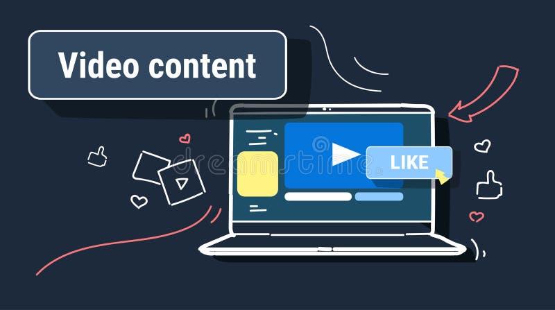 Το κοινωνικό μάρκετινγκ μέσων ανατροφοδοτεί το βίντεο που μοιράζεται και blogging τεχνολογία οθόνης lap-top έννοιας περιεχομένου  ελεύθερη απεικόνιση δικαιώματος