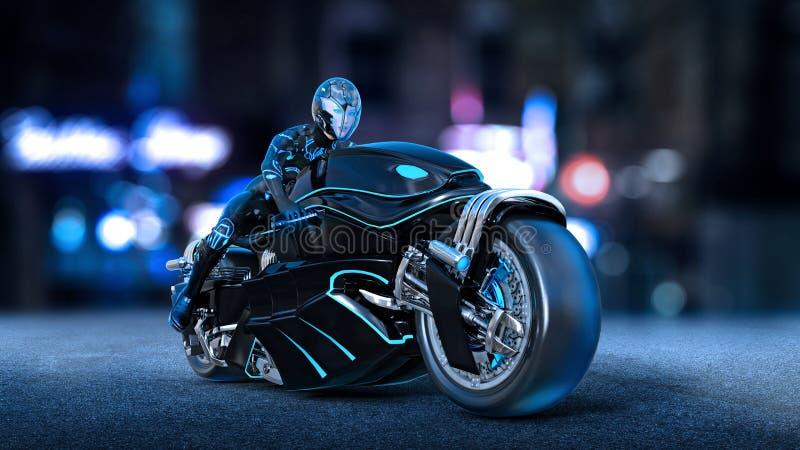 Το κορίτσι ποδηλατών με το κράνος που οδηγά ένα sci-Fi ποδήλατο, γυναίκα στη μαύρη φουτουριστική μοτοσικλέτα στην οδό πόλεων νύχτ απεικόνιση αποθεμάτων