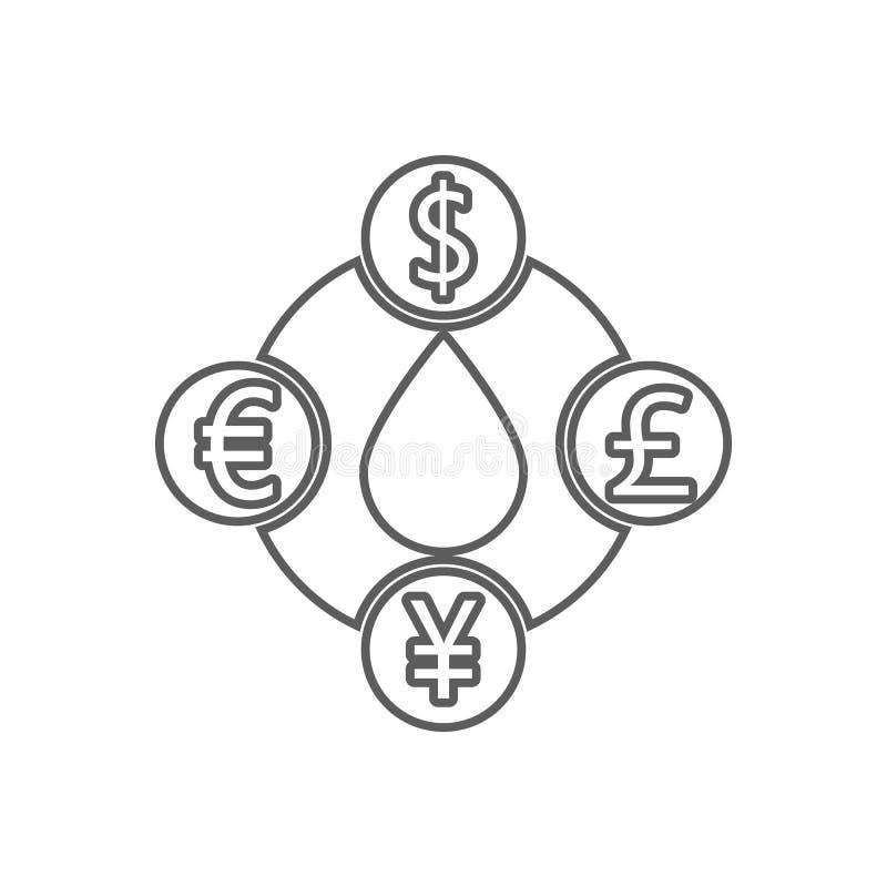 το κόστος του πετρελαίου στο διαφορετικό εικονίδιο νομισμάτων Στοιχείο του πετρελαίου για το κινητό εικονίδιο έννοιας και Ιστού a διανυσματική απεικόνιση