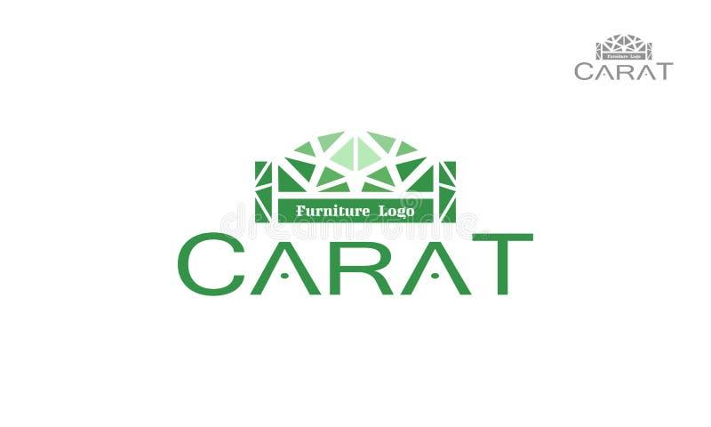 Το λογότυπο επίπλων διαμαντιών αποτελείται από το κόσμημα και τη σκιαγραφία καναπέδων Εμπορικό σήμα πολυτέλειας διανυσματική απεικόνιση