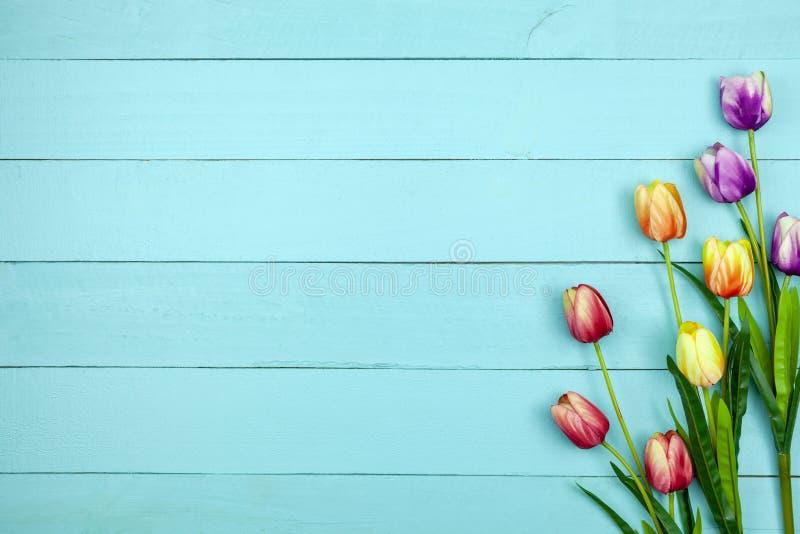 Το λουλούδι άνοιξη των πολυ τουλιπών χρώματος στο ξύλο, επίπεδο βάζει την εικόνα για τη ευχετήρια κάρτα διακοπών για την ημέρα τη στοκ φωτογραφία με δικαίωμα ελεύθερης χρήσης