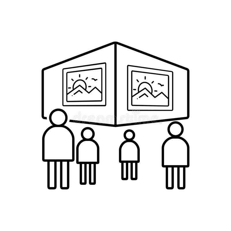 Το μαύρο εικονίδιο γραμμών για την εξέταση, βλέπει και τη ζωγραφική απεικόνιση αποθεμάτων