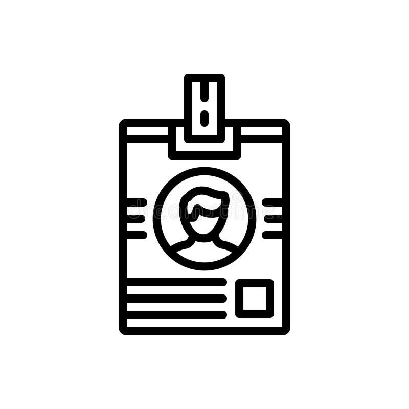 Το μαύρο εικονίδιο γραμμών για το πέρασμα, κάρτα ταυτότητας και αναγνωρίζει ελεύθερη απεικόνιση δικαιώματος