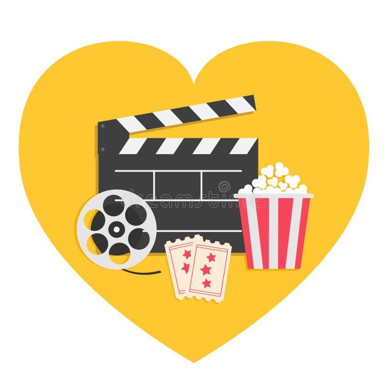 Το μεγάλο clapper εξελίκτρων κινηματογράφων ανοικτό Popcorn πινάκων εισιτήριο συσκευασίας κιβωτίων αναγνωρίζει ενός Τριών αστέρων ελεύθερη απεικόνιση δικαιώματος