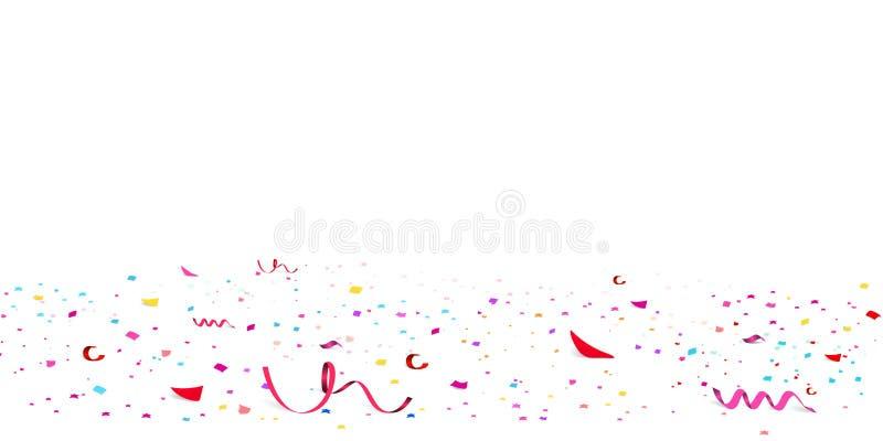 Το μειωμένο ανοιχτό κόκκινο ακτινοβολεί κομφετί, εορτασμός αστεριών, serpentine Ζωηρόχρωμη διασπορά εγγράφου κομφετί που πετά στο ελεύθερη απεικόνιση δικαιώματος