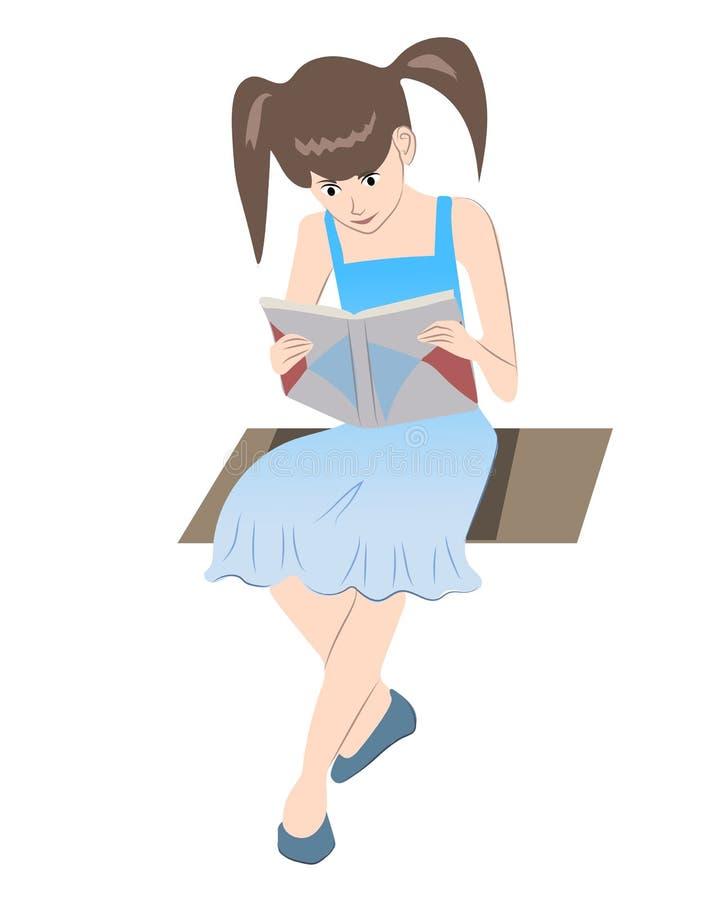 Το μικρό κορίτσι διαβάζει ένα βιβλίο ελεύθερη απεικόνιση δικαιώματος