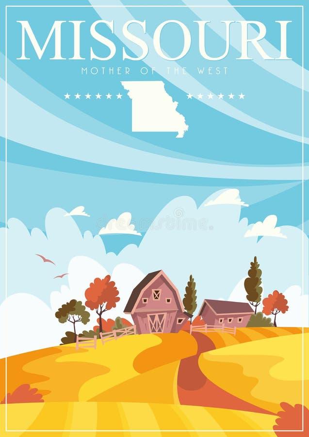 Το Μισσούρι είναι αμερικανικό κράτος Κάρτα και αναμνηστικό τουριστών Όμορφες θέσεις των Ηνωμένων Πολιτειών της Αμερικής στη θέση διανυσματική απεικόνιση