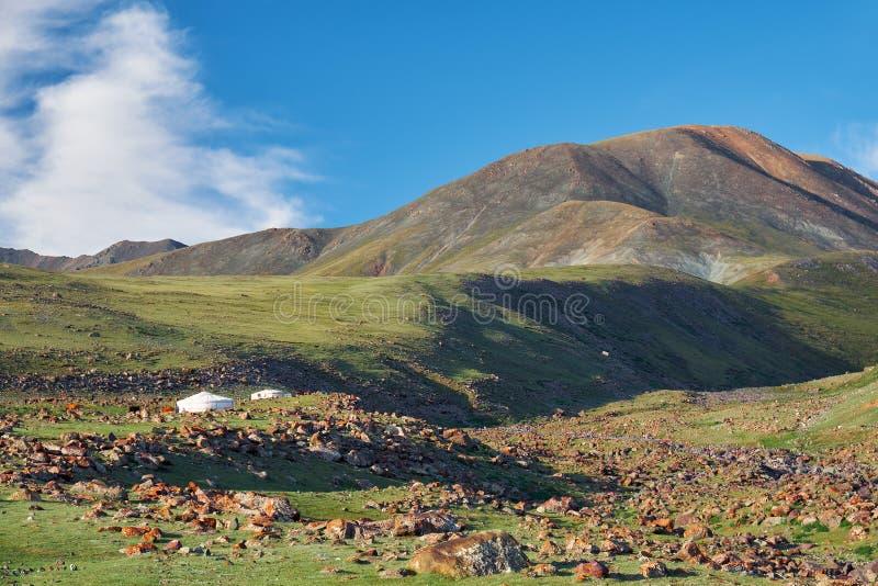 Το μογγολικό τοπίο με τη στέπα βουνών κάτω από τον τρέχοντας σωρείτη καλύπτει στο μπλε ουρανό, yurts και το κοπάδι αιγών στοκ εικόνα με δικαίωμα ελεύθερης χρήσης