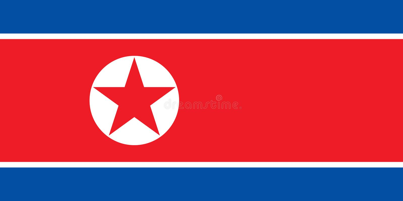 Το διάνυσμα σημαιών Βόρεια Κορεών απομονώνει το επίπεδο τυπωμένων υλών εμβλημάτων διανυσματική απεικόνιση
