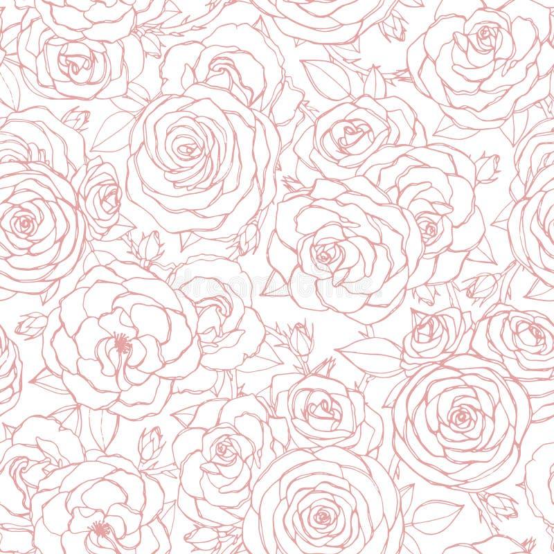 Το διανυσματικό άνευ ραφής σχέδιο με τα ρόδινα ροδαλά λουλούδια και τα φύλλα περιγράφουν στο άσπρο υπόβαθρο σαν χρήσιμο τρύγο δια διανυσματική απεικόνιση