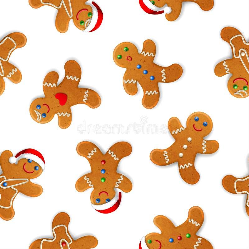 Το διανυσματικό άνευ ραφής υπόβαθρο με το ρεαλιστικό μελόψωμο Χριστουγέννων επανδρώνει, διακοσμημένος με την τήξη, στο λευκό ελεύθερη απεικόνιση δικαιώματος