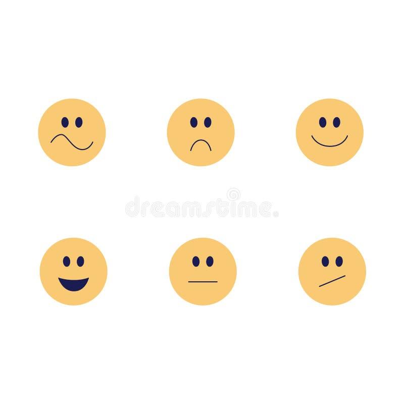 Το διανυσματικό αστείο emoji χαμογελά το επίπεδο σύνολο εικονιδίων διανυσματική απεικόνιση