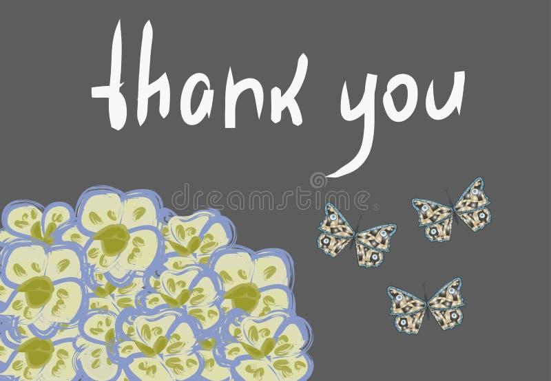 """Το διανυσματικό πλαίσιο με τις ορχιδέες, οι πεταλούδες και το σημάδι """"σας ευχαριστούν """" απεικόνιση αποθεμάτων"""