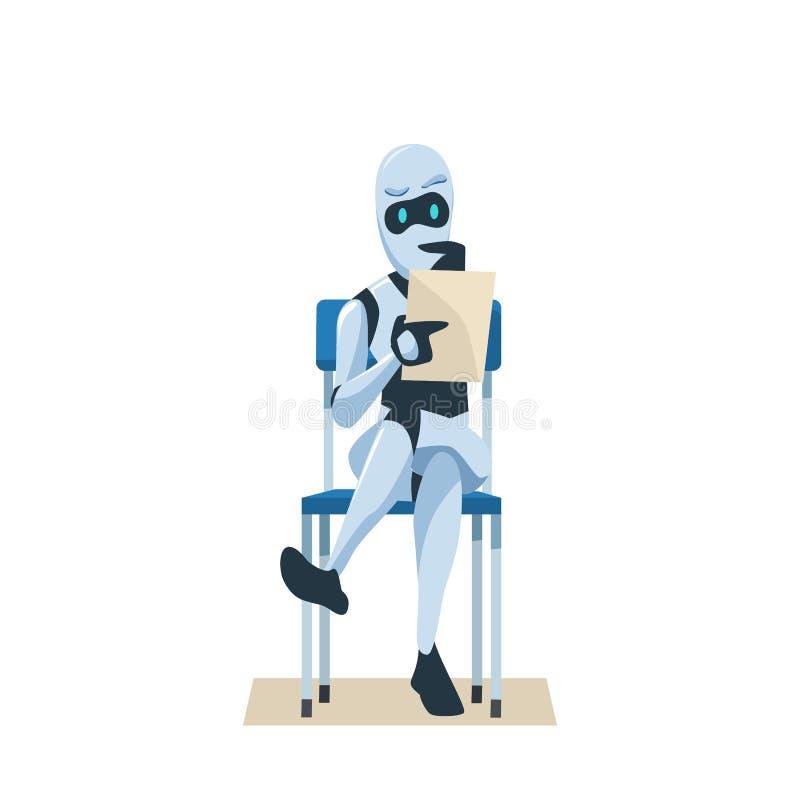 Το ρομπότ κάθεται στη λαβή εδρών επαναλαμβάνει τη συνέντευξη εργασίας αναμονής ελεύθερη απεικόνιση δικαιώματος