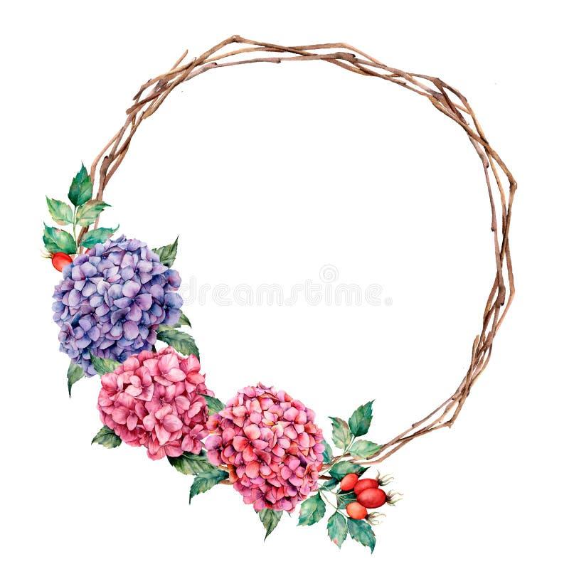 Το στεφάνι Watercolor με το hydrangea και το σκυλί αυξήθηκε Το χέρι χρωμάτισε τα ρόδινα και ιώδη λουλούδια με τα φύλλα ευκαλύπτων διανυσματική απεικόνιση