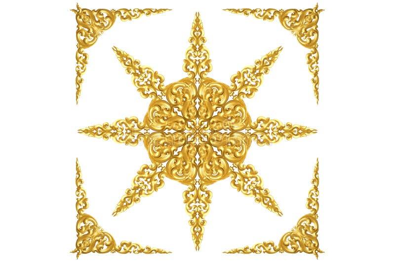 Το σχέδιο του ξύλου χαράζει το χρυσό χρώμα για τη διακόσμηση που απομονώνεται στο λευκό στοκ εικόνες