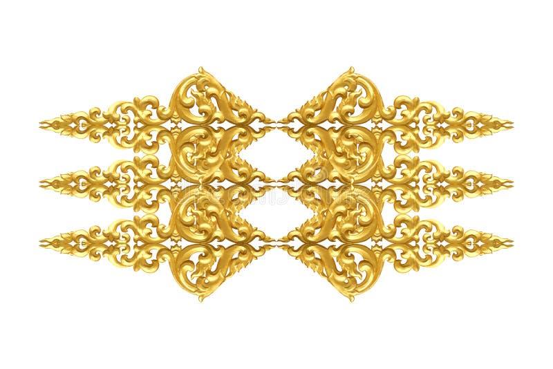 Το σχέδιο του ξύλου χαράζει το χρυσό χρώμα για τη διακόσμηση που απομονώνεται στο άσπρο υπόβαθρο στοκ εικόνα
