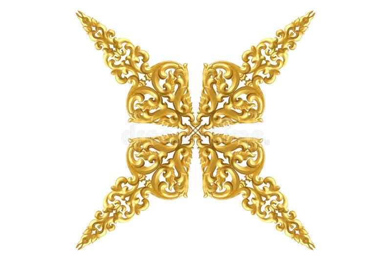 Το σχέδιο του ξύλου χαράζει το χρυσό χρώμα για τη διακόσμηση που απομονώνεται στο άσπρο υπόβαθρο στοκ φωτογραφία με δικαίωμα ελεύθερης χρήσης