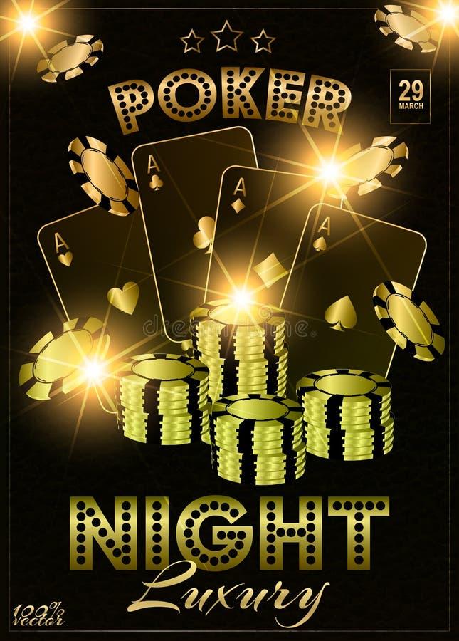 Το σχέδιο προτύπων ή ιπτάμενων κομμάτων νύχτας χαρτοπαικτικών λεσχών διακόσμησε με το πόκερ, τα τσιπ και τις κάρτες παιχνιδιού ελεύθερη απεικόνιση δικαιώματος