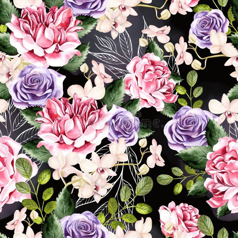 Το σχέδιο Watercolor με τα πράσινα φύλλα, αυξήθηκε και τα λουλούδια ορχιδεών απεικόνιση αποθεμάτων