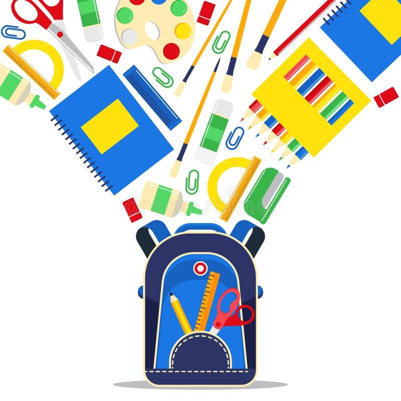 Το σχολείο παρέχει το διανυσματικό εξάρτημα εκπαίδευσης εκπαίδευσης για τα εκπαιδευτικά χαρτικά σκηνικού schoolchilds για να μελε απεικόνιση αποθεμάτων