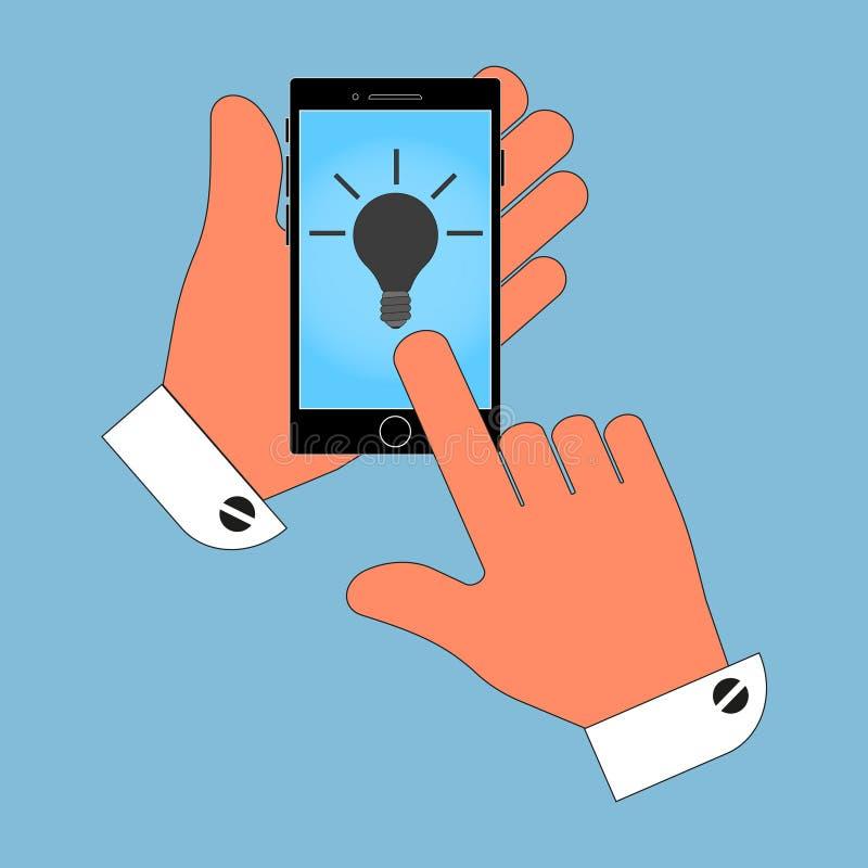 Το τηλέφωνο εικονιδίων στο χέρι του στην ελαφριά οθόνη, απομονώνει στο μπλε υπόβαθρο ελεύθερη απεικόνιση δικαιώματος