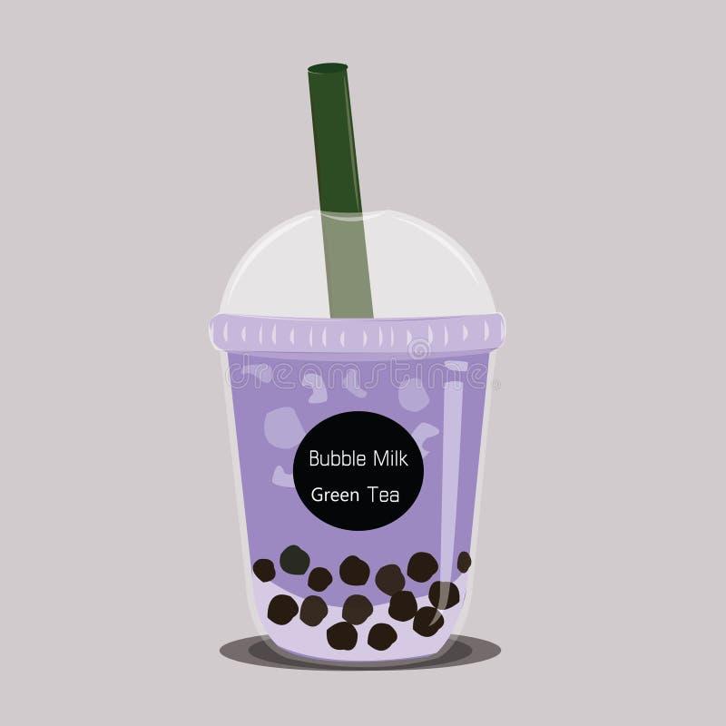 Το τσάι γάλακτος φυσαλίδων Το μαύρο πορφυρό Taro μαργαριταριών τσάι είναι διάσημο διάνυσμα φλυτζανιών ποτών ελεύθερη απεικόνιση δικαιώματος