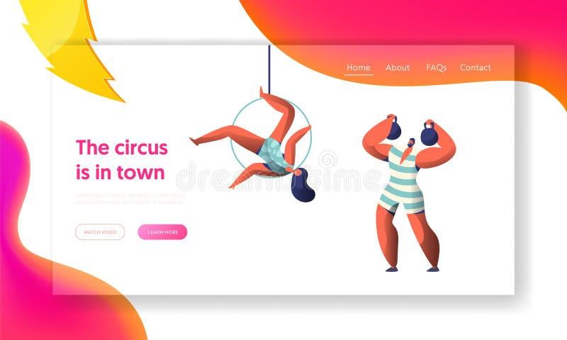 Το τσίρκο καρναβάλι παρουσιάζει με το ισχυρό άνδρα και την προσγειωμένος σελίδα Aerialists Gymnast γυναικών ισορροπία στον αέρα Α διανυσματική απεικόνιση