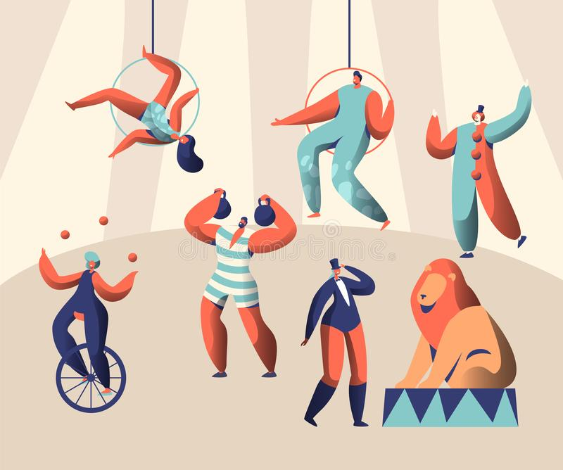 Το τσίρκο χώρων παρουσιάζει με τον ακροβάτη και το ζώο κλόουν Ζογκλέρ γυναικών σε Unicycle Βάρη ανελκυστήρων ισχυρών ανδρών Εκπαι διανυσματική απεικόνιση