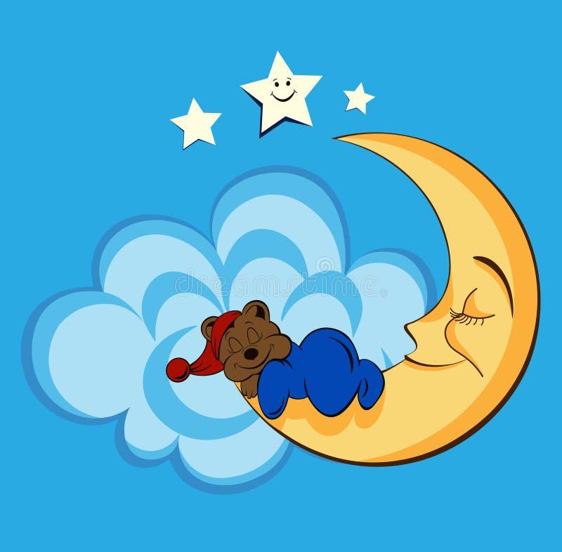 Το χαριτωμένο σχέδιο μωρών με τα κινούμενα σχέδια αντέχει, φεγγάρι και ουρανός στοκ εικόνες με δικαίωμα ελεύθερης χρήσης